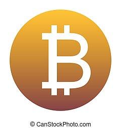 arany-, gradiens, cégtábla., bitcoin, backg, karika, fehér, ikon