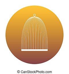 arany-, gradiens, cégtábla., madár, bac, fehér, kalitka, karika, ikon