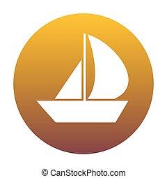 arany-, gradiens, cégtábla., vitorlázik, bac, white körbejár, csónakázik, ikon
