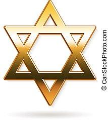 arany-, grafikus, csillag, dávid, vektor, tervezés, logo.