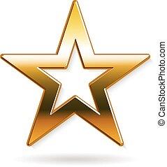 arany-, grafikus, csillag, vektor, tervezés, logo.
