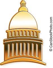arany-, grafikus, kongresszus székháza washingtonban, vektor, tervezés, logo.