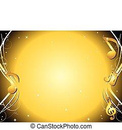 arany-, hangjegy, zene, háttér