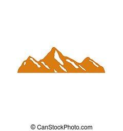 arany, hegy, hó, tervezés, ikon, fehér
