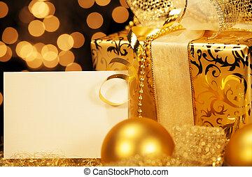 arany-, herék, tehetség kártya, christmas ajándék