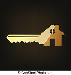 arany, icon., vektor, kulcs, ábra