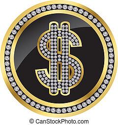 arany-, ikon, dollár, káró