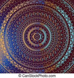 arany, indiai, mandala., pattern., dekoratív