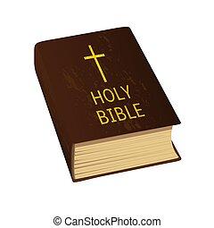 arany-, irodalomtudomány, illustration., jámbor, nehéz, kereszt, fedő, vektor, bible.