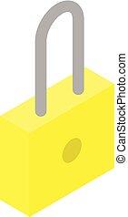 arany-, isometric, ikon, zár, mód