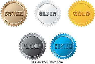 arany, jelvény, ezüst, platina, bronz