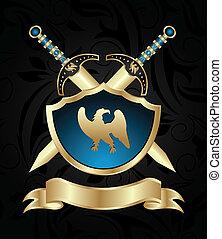 arany-, kard, középkori, pajzs
