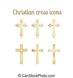 arany-, keresztény, kereszt, ikonok