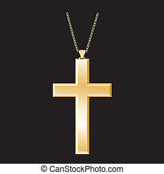 arany, keresztény, nyaklánc, kereszt