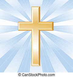 arany-, kereszténység, kereszt, jelkép