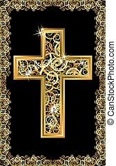 arany-, kereszt, vektor, húsvét, boldog