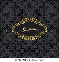 arany-, keret, fekete, meghívás