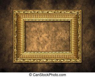 arany-, keret, művészi, háttér