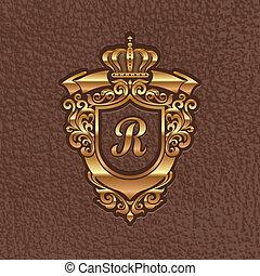 arany-, királyi, fegyver, bőr