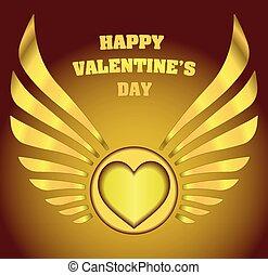 """arany-, lakberendezési tárgyak, szív, valentine's, felirat, """"happy, day"""", kasfogó, gamma"""