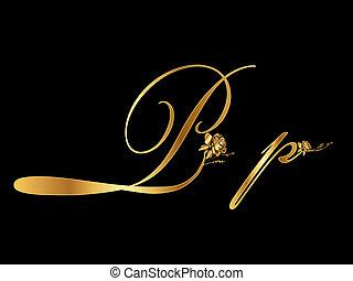 arany-, levél, vektor, p