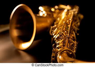 arany-, makro, összpontosít, szelektív, szakszofon, tenor saxofon