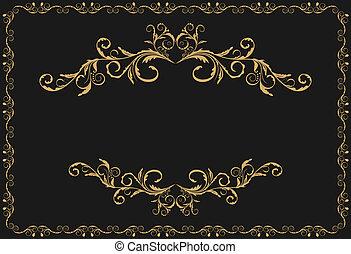 arany, motívum, díszítés, ábra, fényűzés, határok