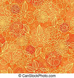 arany-, motívum, seamless, struktúra, narancs háttér, virágos