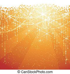 arany-, nagy, occasions., csillaggal díszít, ünnepies, szikrázó, év, háttér., háttér, neaw, vagy, piros, karácsony