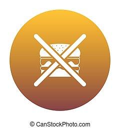 arany-, nem, gradiens, cégtábla., burger, bac, white körbejár, ikon