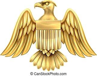arany-, pajzs, sas, amerikai