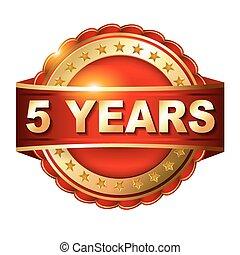 arany-, ribbon., évforduló, év, 5, címke