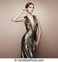 arany, ruha, portré, mód, gyönyörű woman, fiatal