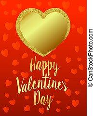 arany-, szív, valentines nap, piros háttér, kártya, boldog