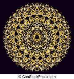 arany, szüret, pattern., háttér., fekete, etnikai, mandala