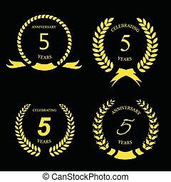 arany-, szalag, évforduló, ábra, címke, vektor, öt, év