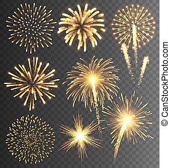 arany-, tűzijáték, üdvözöl, burst., ünnepies