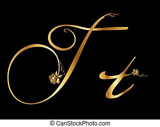 arany-, t, levél, agancsrózsák