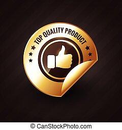 arany-, termék, tető feláll, címke, tervezés, lapozgat, minőség