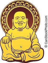 arany-, thai ember, buddha, szobor
