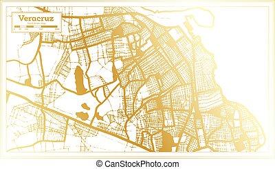 arany-, város, mód, áttekintés, mexikó, retro, map., color., veracruz, térkép