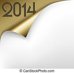 arany-, vektor, ív, -, új, dolgozat, év, 2014, karácsonyi üdvözlőlap