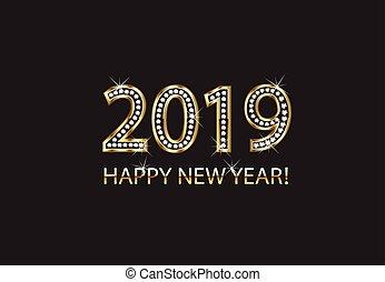 arany, vektor, 2019, háttér, év, új, boldog