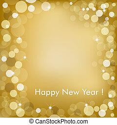 arany-, vektor, háttér, év, új, boldog
