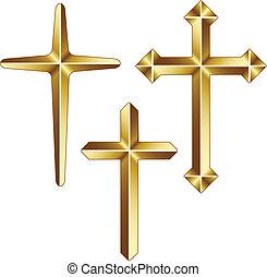 arany-, vektor, keresztény, keresztbe tesz