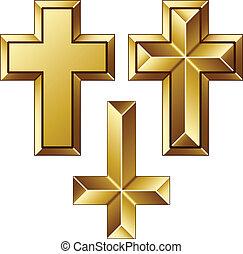 arany-, vektor, keresztény, súlyos, keresztbe tesz