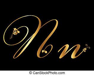 arany-, vektor, levél n