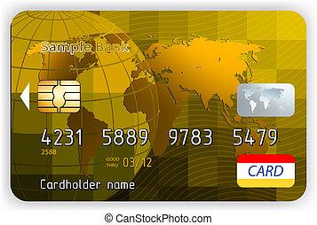 arany, versenyez, hitel, vektor, elülső, kártya