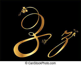 arany-, z, levél, vektor