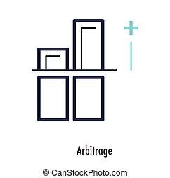 arbitrage, jelkép, vektor, sovány megtölt, design., ikon